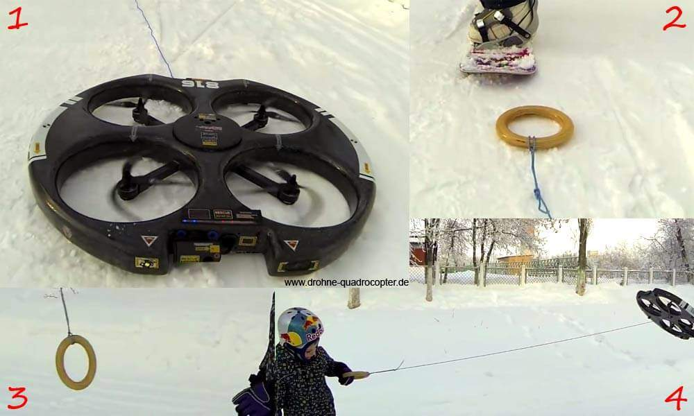 Droneboarding - Drohne / Quadrocopter zieht Snowboarder - so gehts!